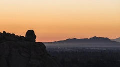 Los Angeles Sunrise Time Lapse Towards Stoney Point and Griffith Park Stock Footage
