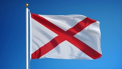 Alabama (U.S. state) flag in slow motion seamlessly looped with alpha Stock Footage
