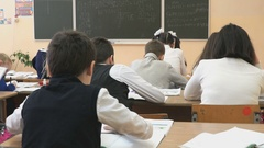 Students sit at school desks in a class at school Stock Footage