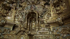 Ornate golden church altarpiece, El Miracle, Catalunya, Spain Stock Footage