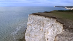 White Cliffs of Dover, chalk facades, tilt down Stock Footage