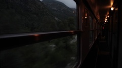 View out French night train sleeper  carriage window through Pyrenees Stock Footage