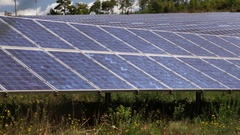 Photovoltaic power, solar panels, renewable energy, fast-slow pans Stock Footage
