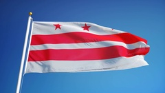 Washington D.C flag in slow motion seamlessly looped with alpha Stock Footage