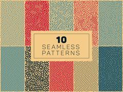 Set of Ten Vector Seamless Organic Rounded  Patterns Stock Illustration