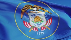 Utah (U.S. state) flag in slow motion seamlessly looped with alpha Stock Footage