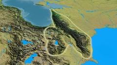 Revolution around Caucasus mountain range - glowed. Topographic map Stock Footage
