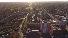 High rise tower blocks and busy traffic in Birmingham, UK. Stock Footage