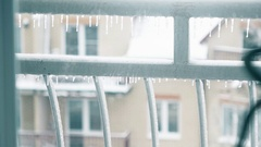 Potted bamboo and icicles outside. Warm and cold, insulation, care concepts. 4K Stock Footage