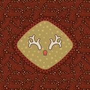 Christmas and New Year vintage ornate frame with Santa deer horns symbol Stock Illustration