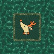 Christmas and New Year vintage ornate frame with Santa deer head symbol Stock Illustration