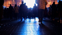 People go into the light to meet the truth. Blurred shadows and silhouettes. Stock Footage
