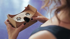 Woman's hands holding Virtual reality mask. VR Stock Footage