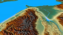 Glide over Caucasus mountain range - glowed. Relief map Stock Footage