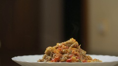 Buckwheat porridge with meat and vegetables Stock Footage