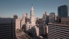 Philadelphia City Hall Aerial Stock Footage