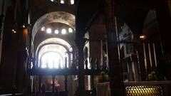 Basilica, St Marks Venice, light through window. Stock Footage