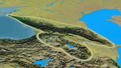 Zoom into Caucasus mountain range - glowed. Topographic map Stock Footage