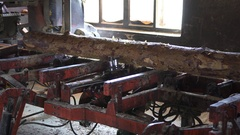 Old sawmill, Cut timber to board. Stock Footage