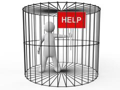 3d man in cage asking for help Stock Illustration