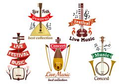 Musical instruments icons for music fest, concert Stock Illustration
