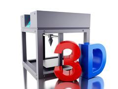 3D Three dimensional printer. Stock Illustration