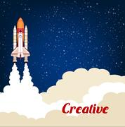 Creative poster with rocket srart launch Stock Illustration
