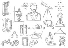 Scientific items. Vector sketch isolated icons Stock Illustration