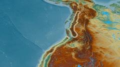 Revolution around Coast mountain range - glowed. Relief map Stock Footage