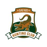 Safari hunting club badge with alligator croc Stock Illustration