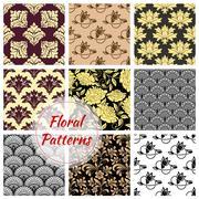 Floral ornate seamless patterns set Stock Illustration