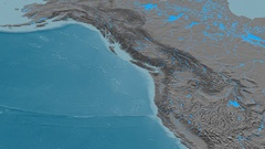 Revolution around Coast mountain range - masks. Elevation map Stock Footage