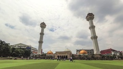 Timelapse of cloud movement and people activity in Great Mosque of bandung Stock Footage