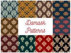 Damask floral seamless patterns set Stock Illustration