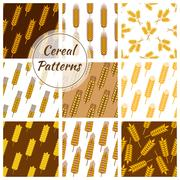 Cereal grain seamless patterns set Piirros