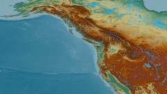 Revolution around Coast mountain range - masks. Relief map Stock Footage