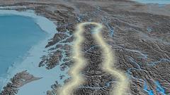 Glide over Coast mountain range - glowed. Elevation map Stock Footage