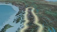 Glide over Coast mountain range - glowed. Natural Earth Stock Footage