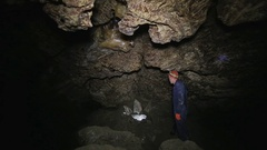 Inside the karst cave of Ternopil Stock Footage