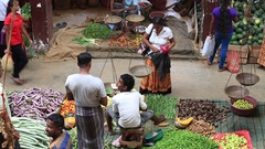 Sellers in street market sell fresh fruits and vegetables. Sri Lanka Stock Footage