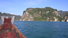 Mountain lake and river from boat, Khoa sok national park, Surat thani, Thailand Stock Footage