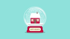 Snowglobe animation with gift inside on a blue background Stock Footage