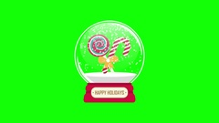 Snowglobe animation with gift inside on a green background Stock Footage