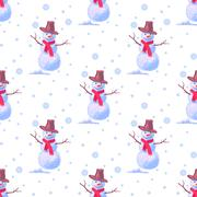 Seamless background on New Year s theme. A lot of snowmen christmas decoration Piirros