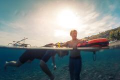 Free divers training Stock Photos