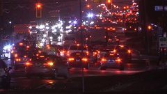 Busy city of Toronto streets in evening during rush hour Stock Footage