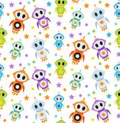 Cute kids seamless pattern robot rocket. Children endless background, texture Piirros