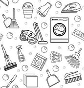Cleaning seamless pattern.  endless background, texture, wallpaper. Vector Stock Illustration