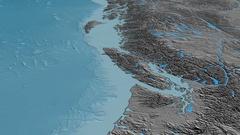 Glide over Coast mountain range - masks. Elevation map Stock Footage