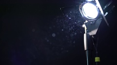 Photo equipment. View of dust in spotlight Stock Footage